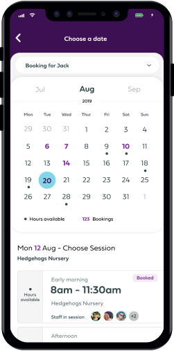 Caerus parent's app on a mobile device.
