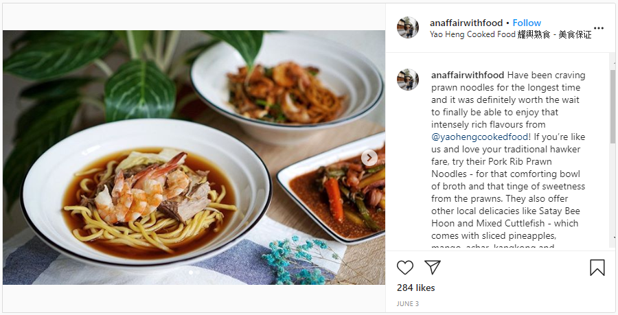 @anaffairwithfood instagram post about prawn noodles