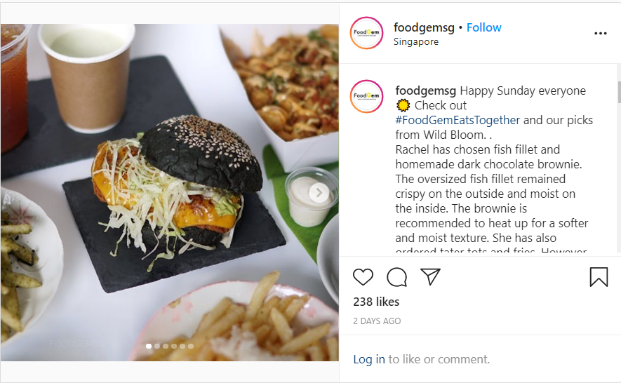 screenshot from food gem's instagram post