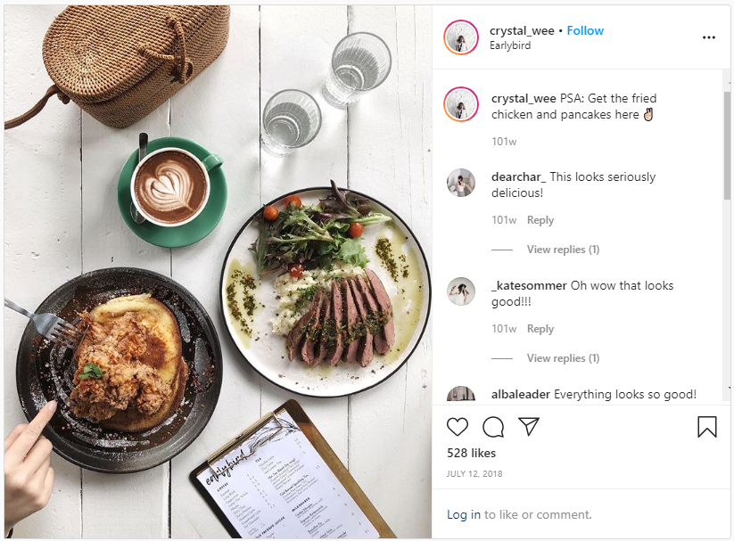 @crystal_wee instagram post about chicken and pancakes