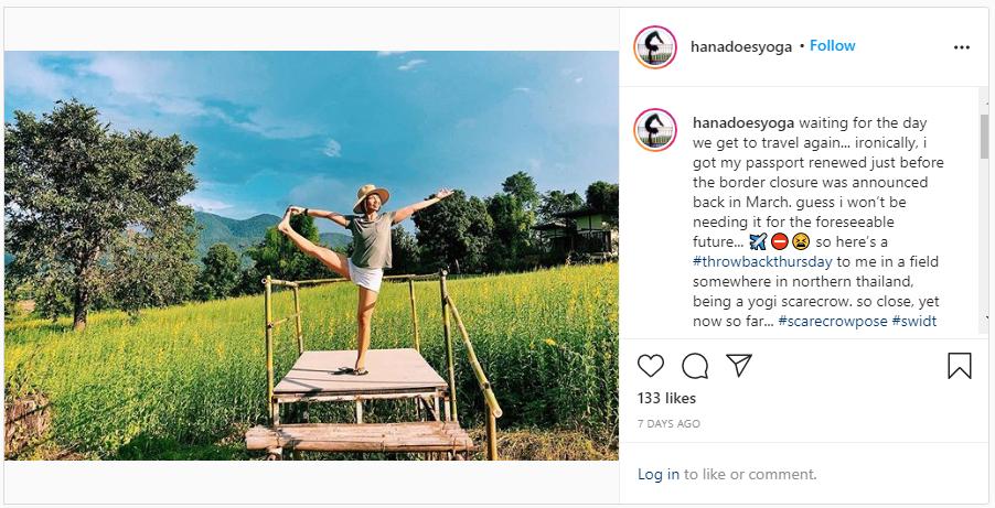 screenshot from hana's instagram post