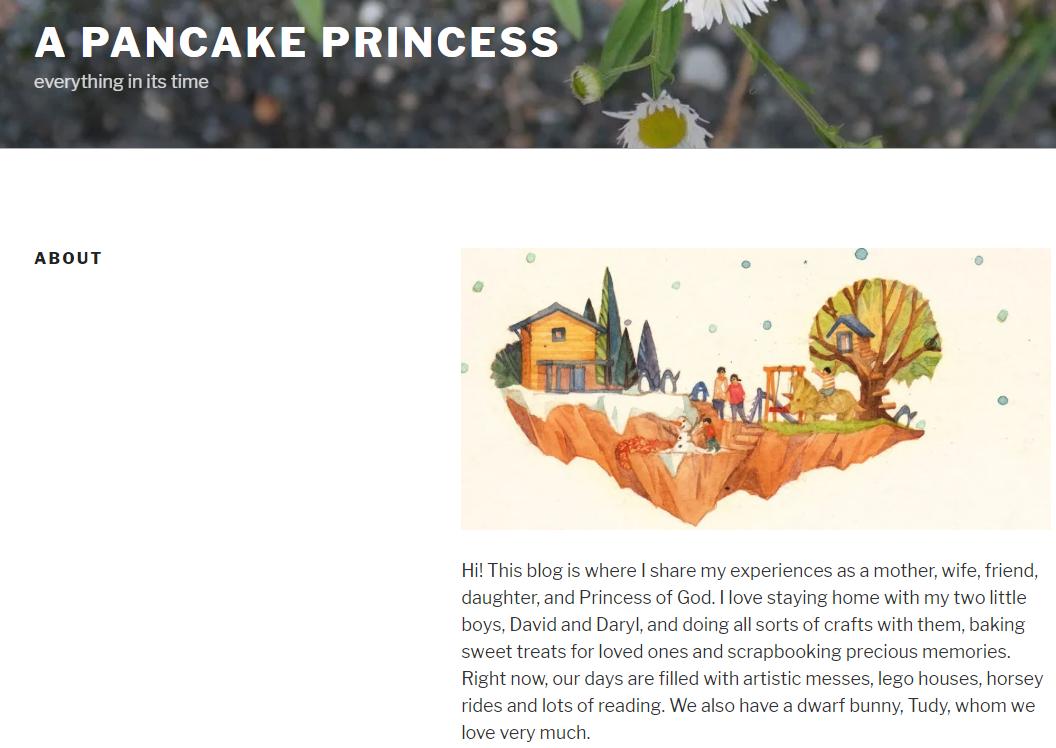 screenshot from a pancake princess' website
