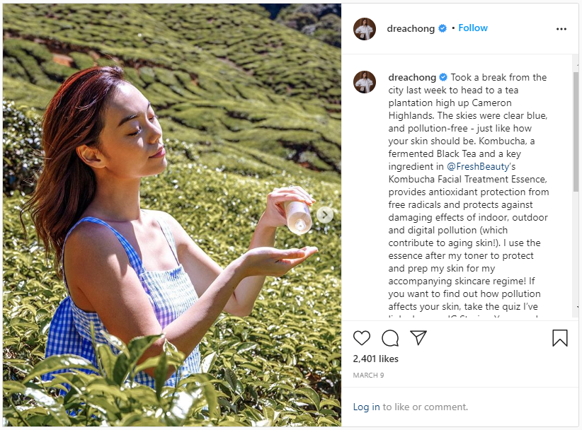 screenshot of one of andrea chong's instagram posts