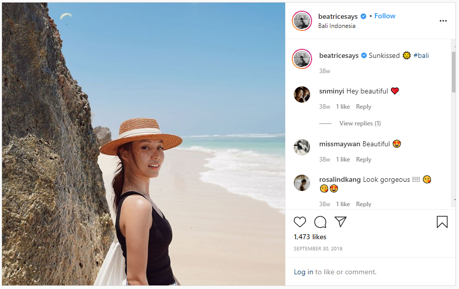 screenshot of one of beatrice tan's instagram posts