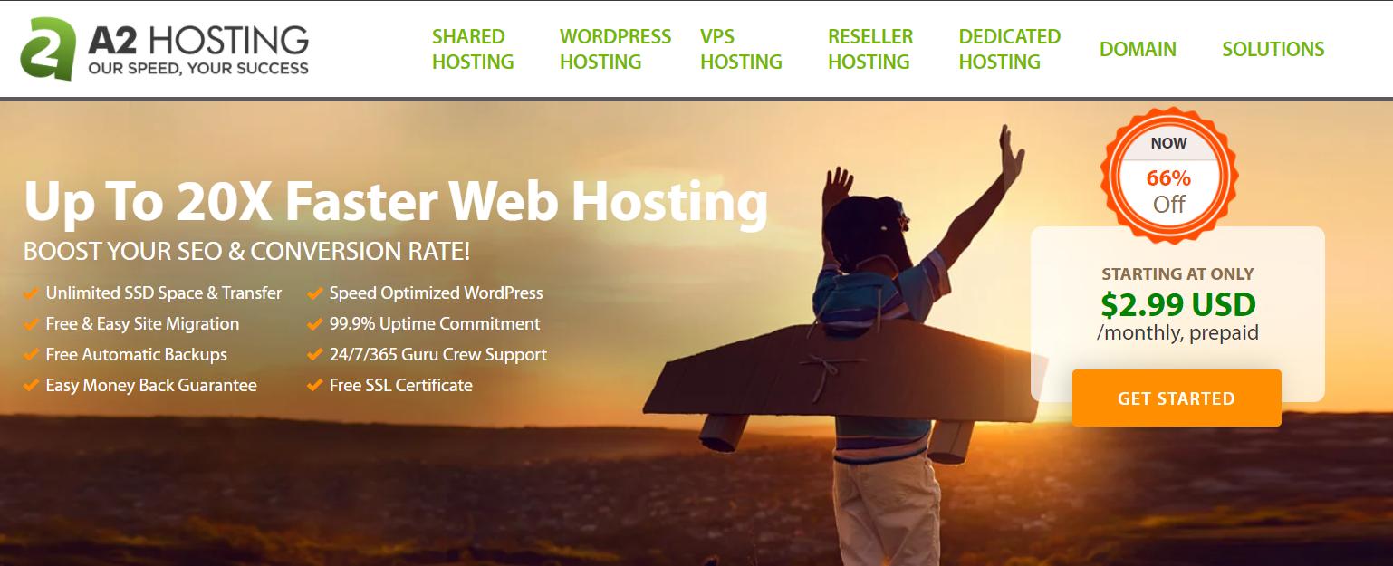 screenshot from a2 hosting platform