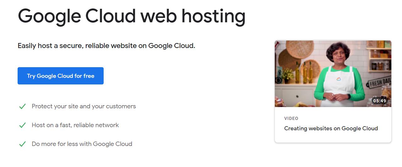 screenshot of google cloud web hosting site