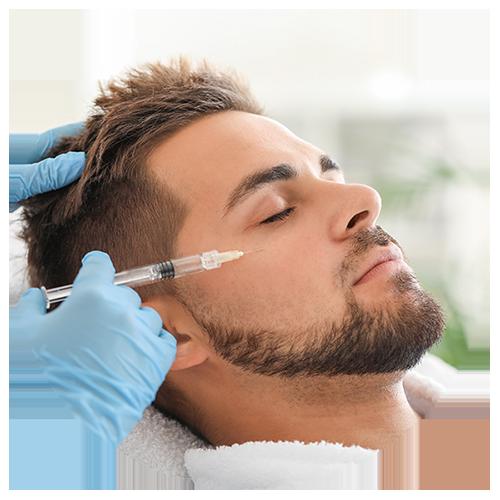 male receiving botox