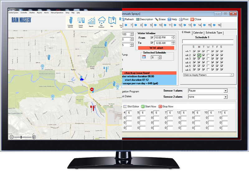 monitor with split screen showing Laguna and Toro Sentinel software