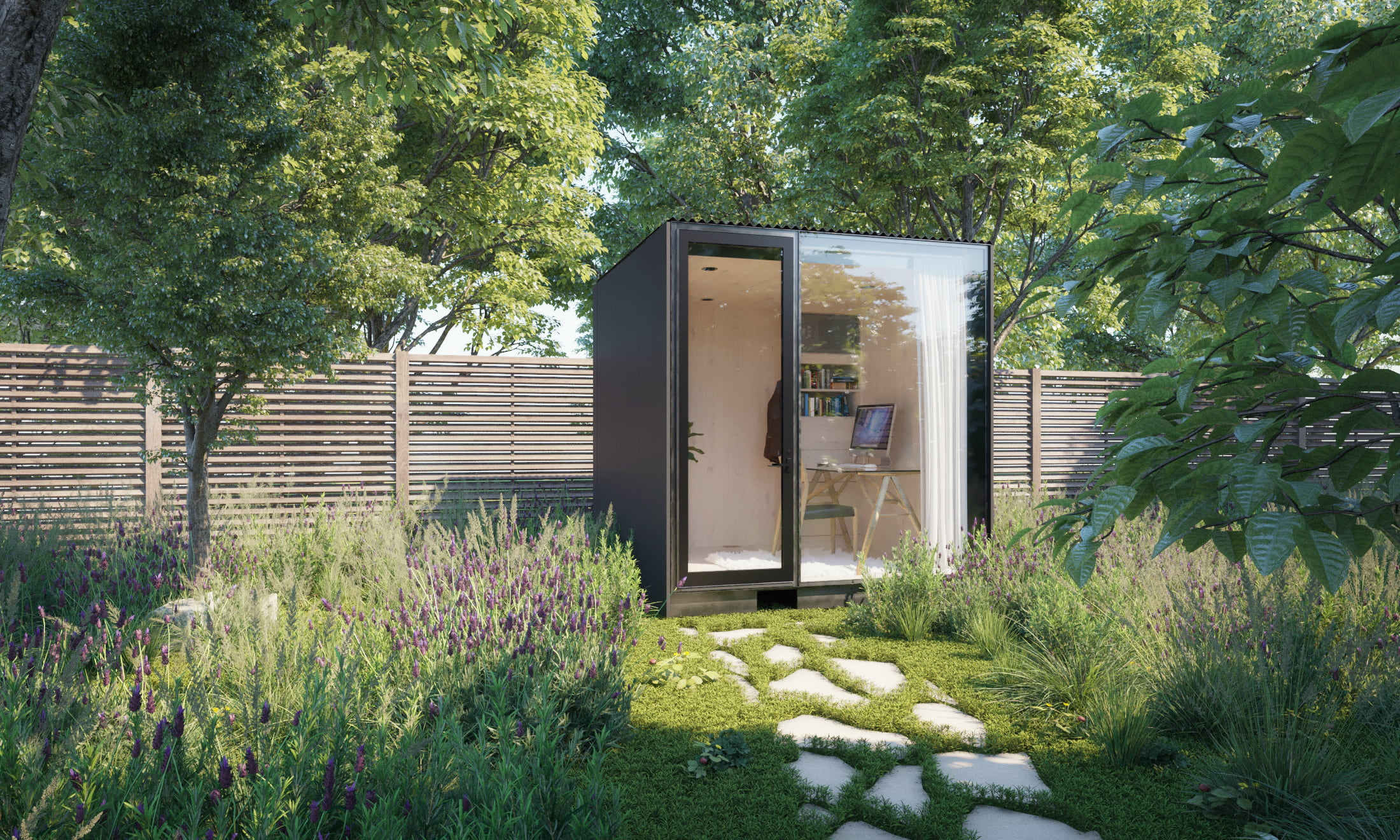 View of a backyard office in a garden with concrete steps in grass