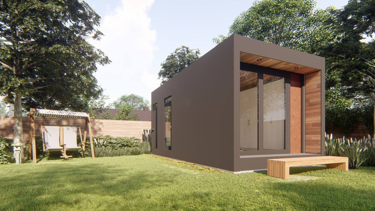 A brown-colored modular home with large windows, set it a backyard with grass and trees.
