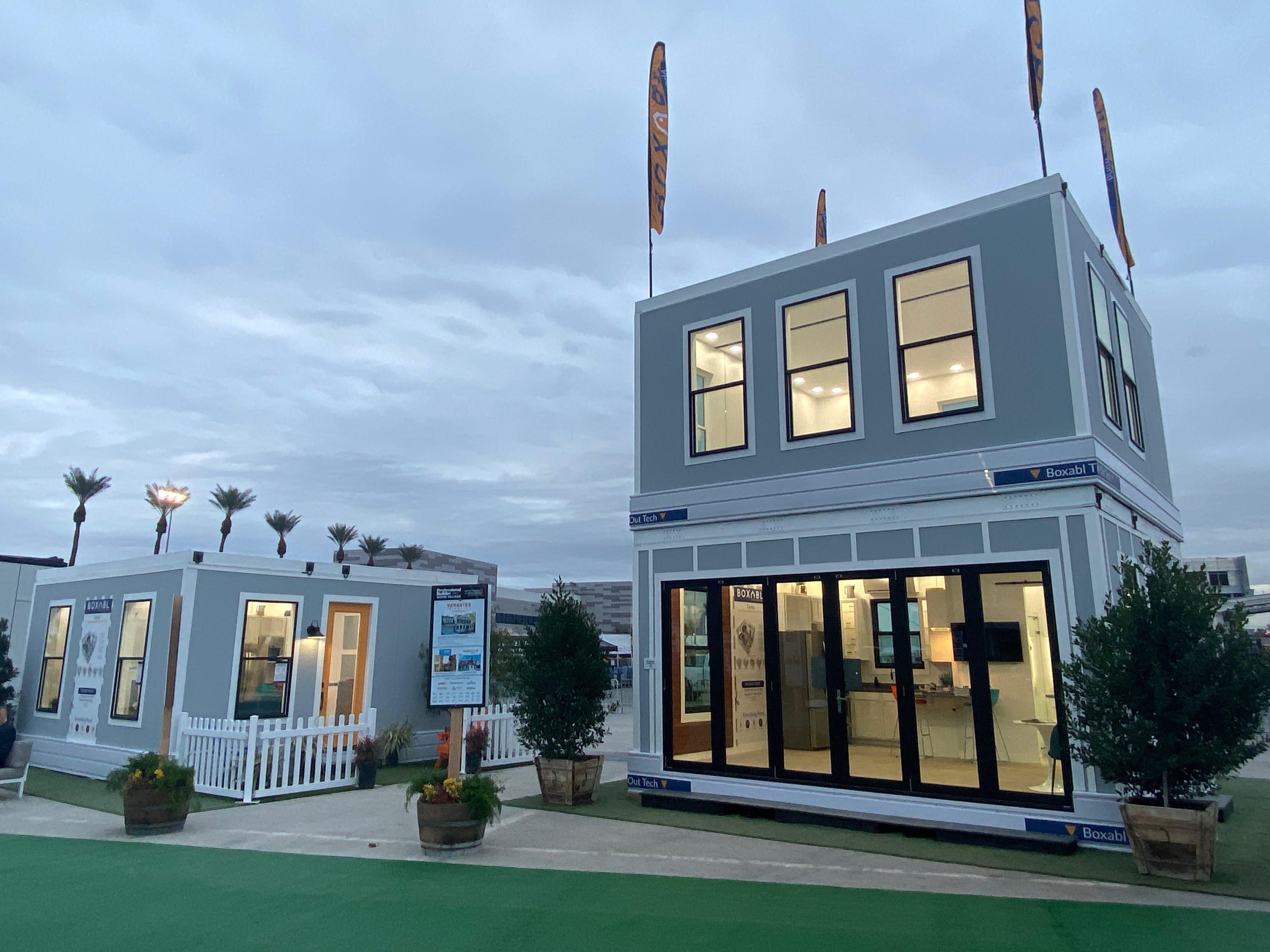 The Boxabl Casita in a two-story configuration in a parking lot