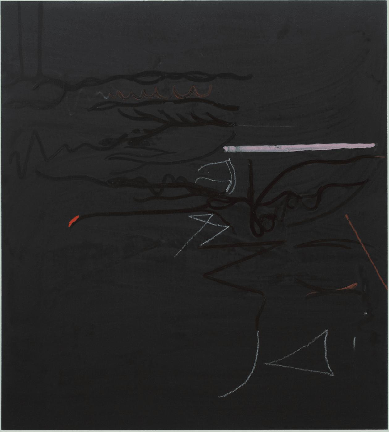 Erika Krause: Untitled, ink, pencils, marker, gesso on wood, 80x72cm, 2019
