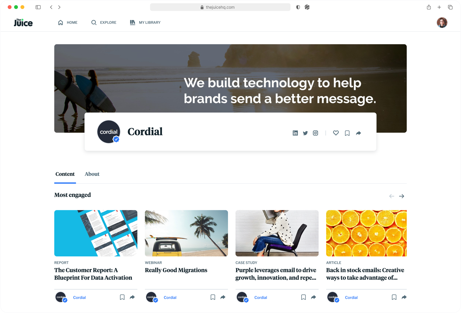 Product screen of The Juice - Brand landing page