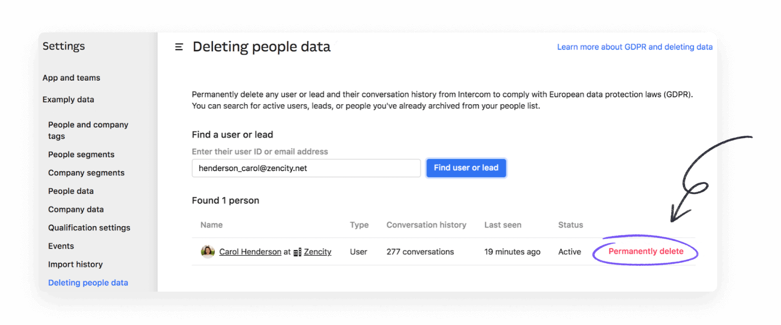 How to delete user data on Intercom