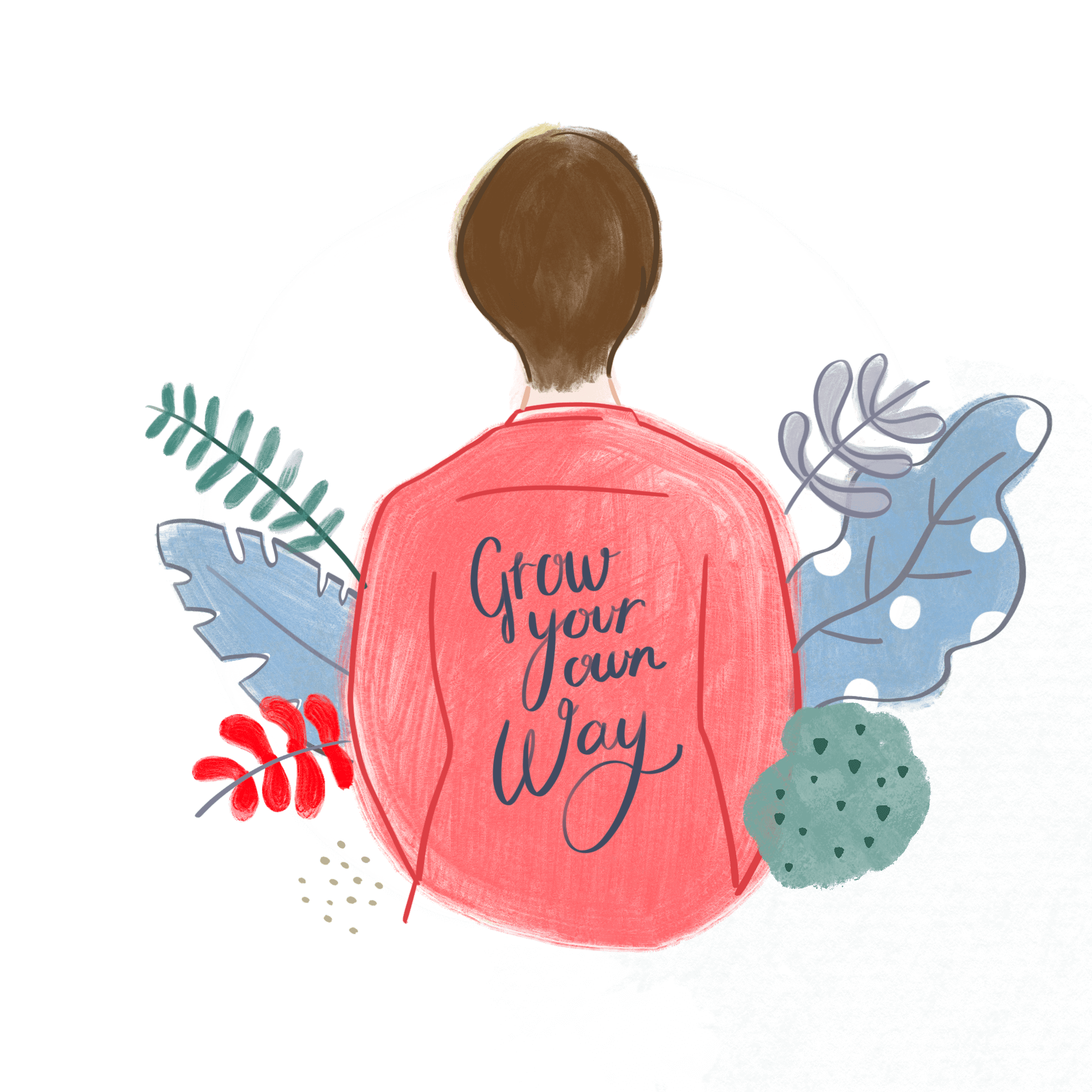 Back of a woman wearing a shirt that says Grow your own way