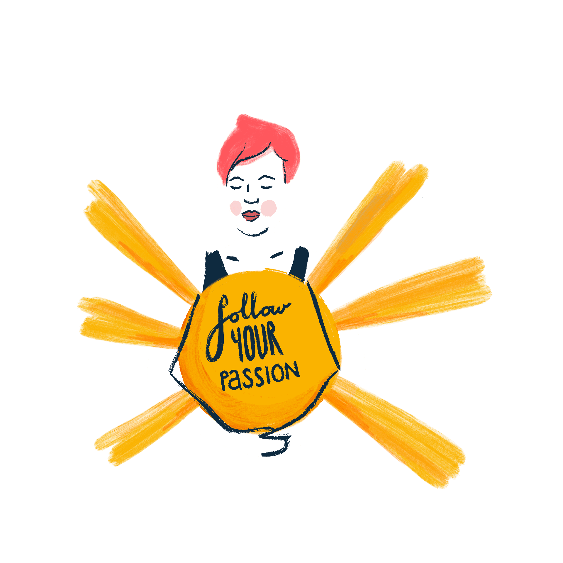 Woman holding a sun that says follow your passion