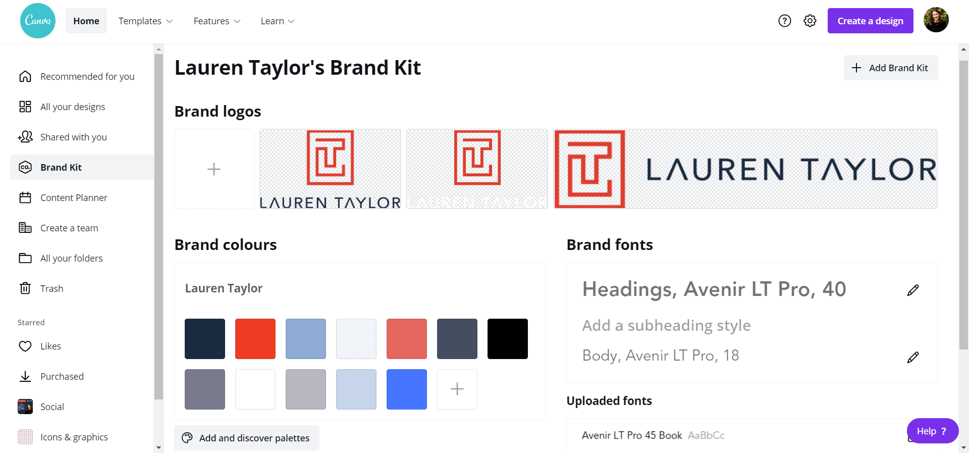 Canva's Brand Kit with red, blue and white Lauren Taylor logos at the top, a selection of brand colours on the left and brand fonts and styles on the right.