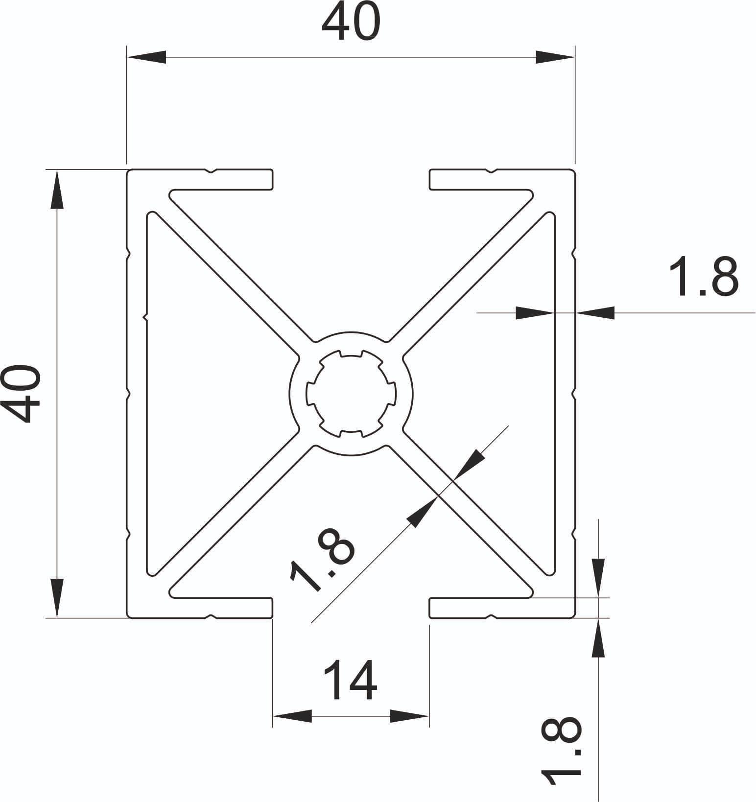 Profil vom Dachträger 40 x 40