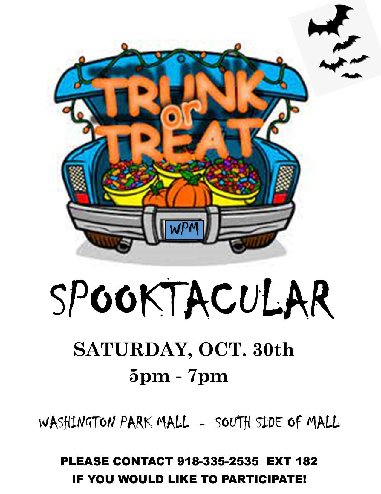 spooktacular trunk or treat information with halloweem car graphic