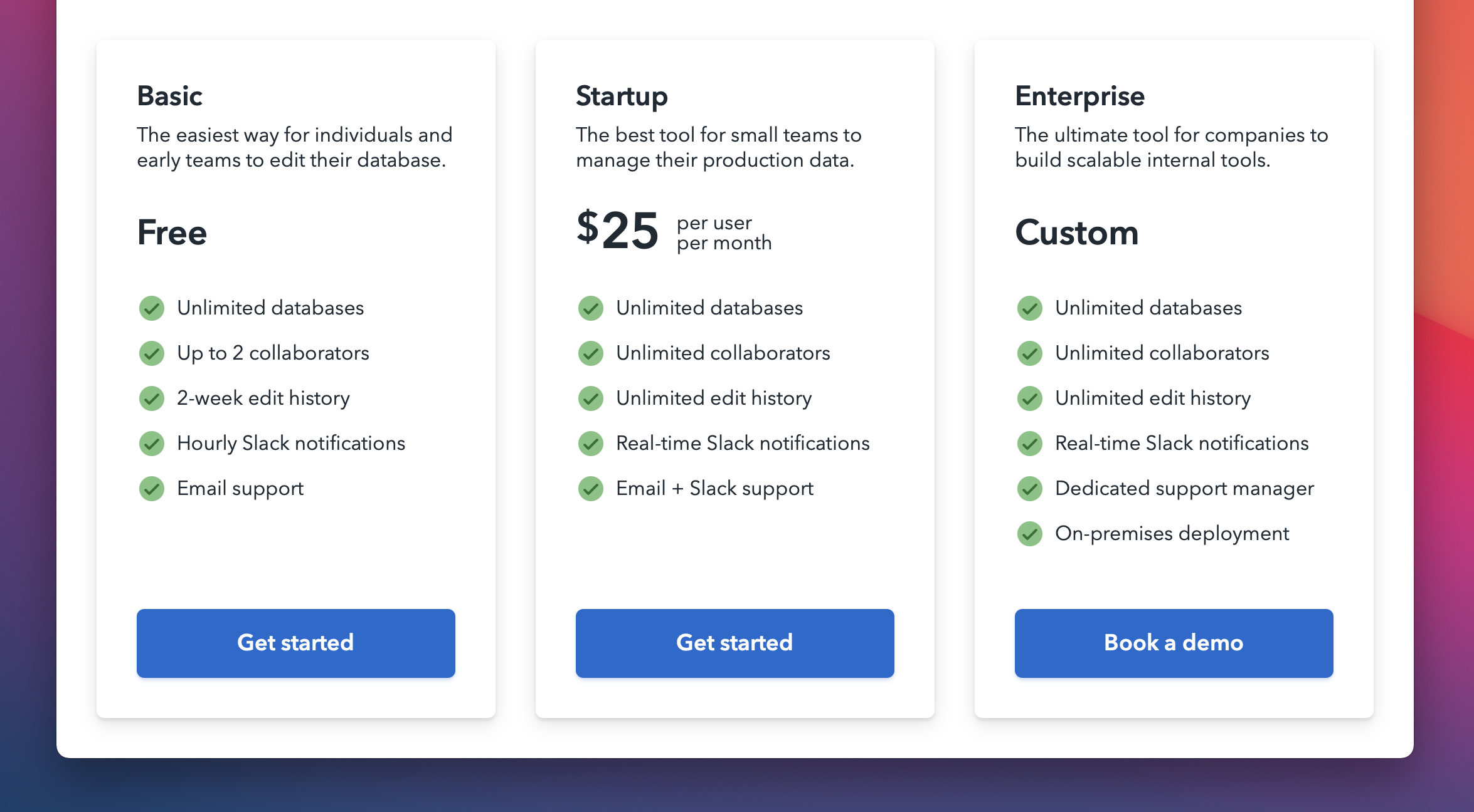 Overview of plans and functionality for BaseDash, including Basic, Startup, and Enterprise.