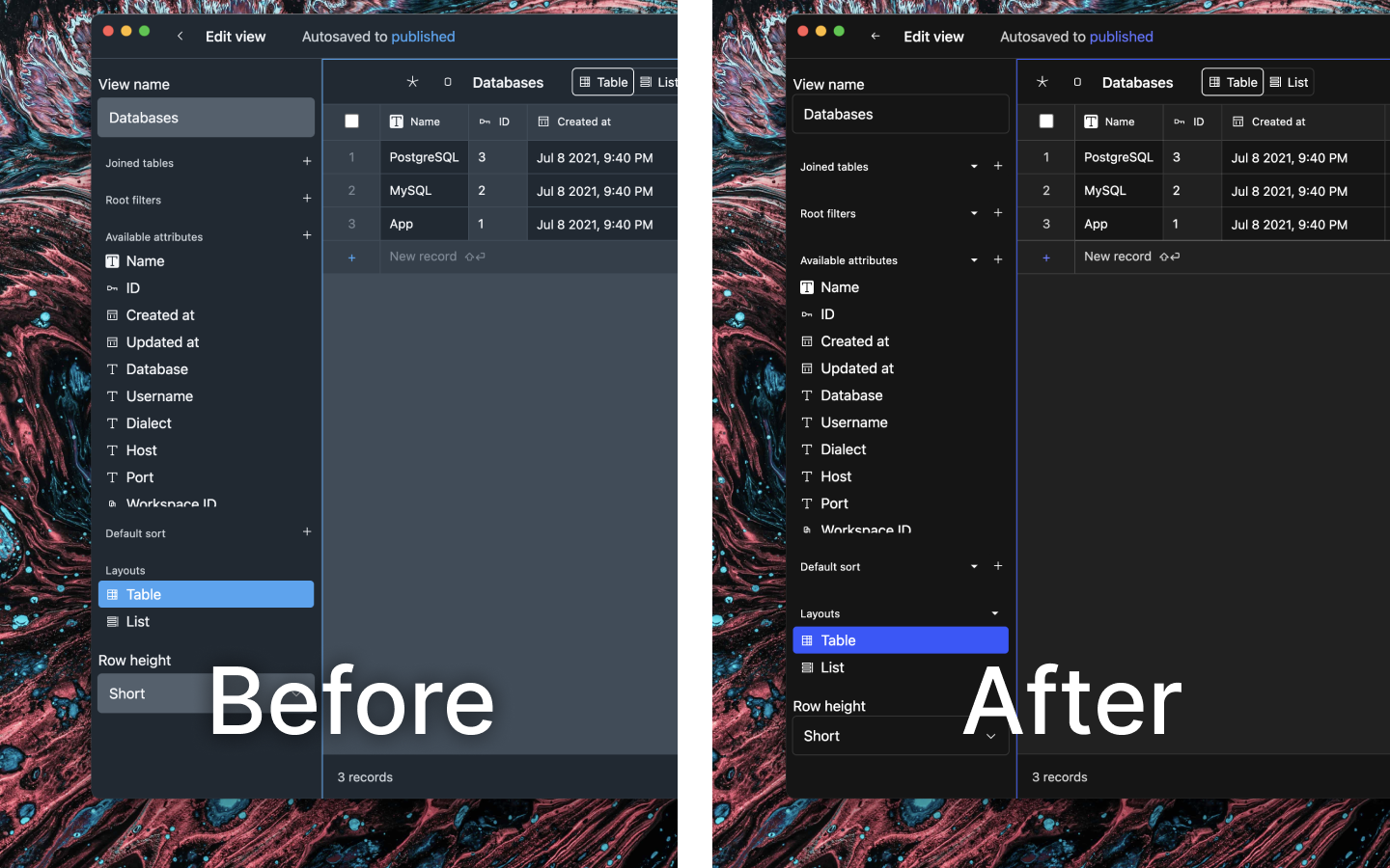 """Split-screen screenshot of BaseDash, comparing """"Before"""" and """"After"""", with the after image showing a darker color palette."""