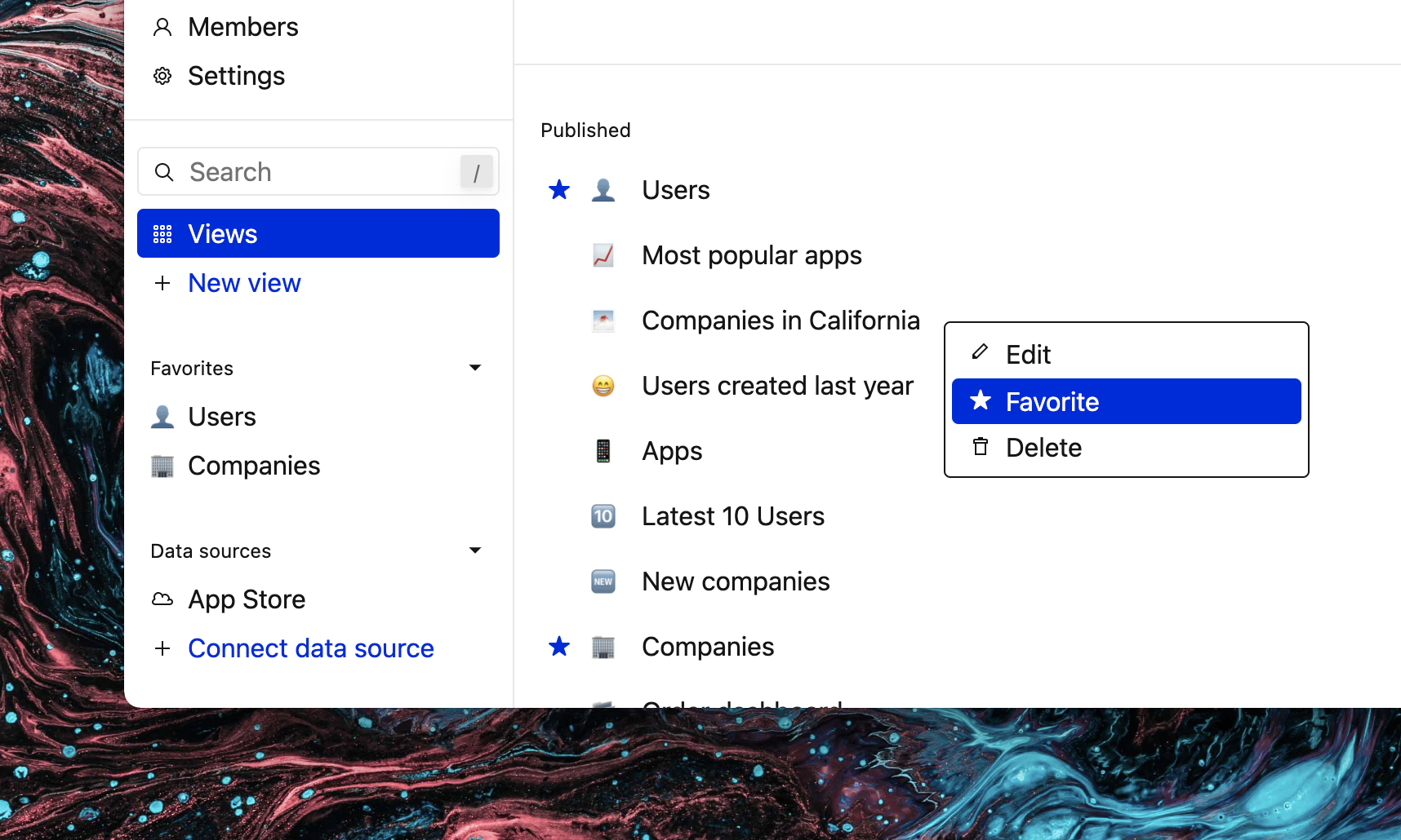 Screenshot of Basedash showing a custom right-click context menu on the Views page.