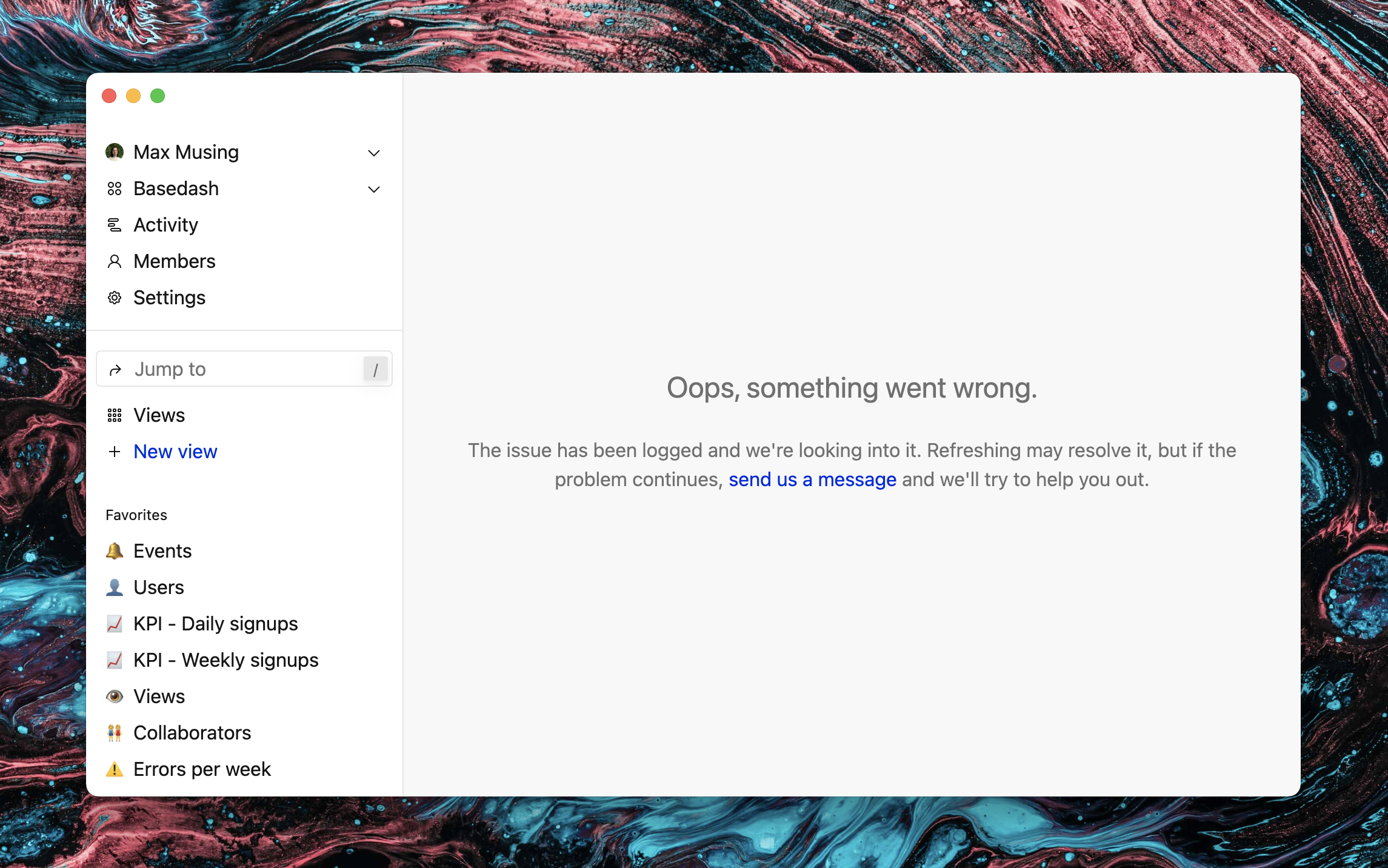 """Screenshot of Basedash with an error message: """"Oops, something went wrong""""."""