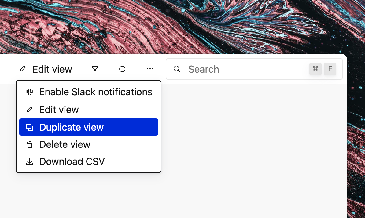 Screenshot of Basedash showing a dropdown menu in the view header.