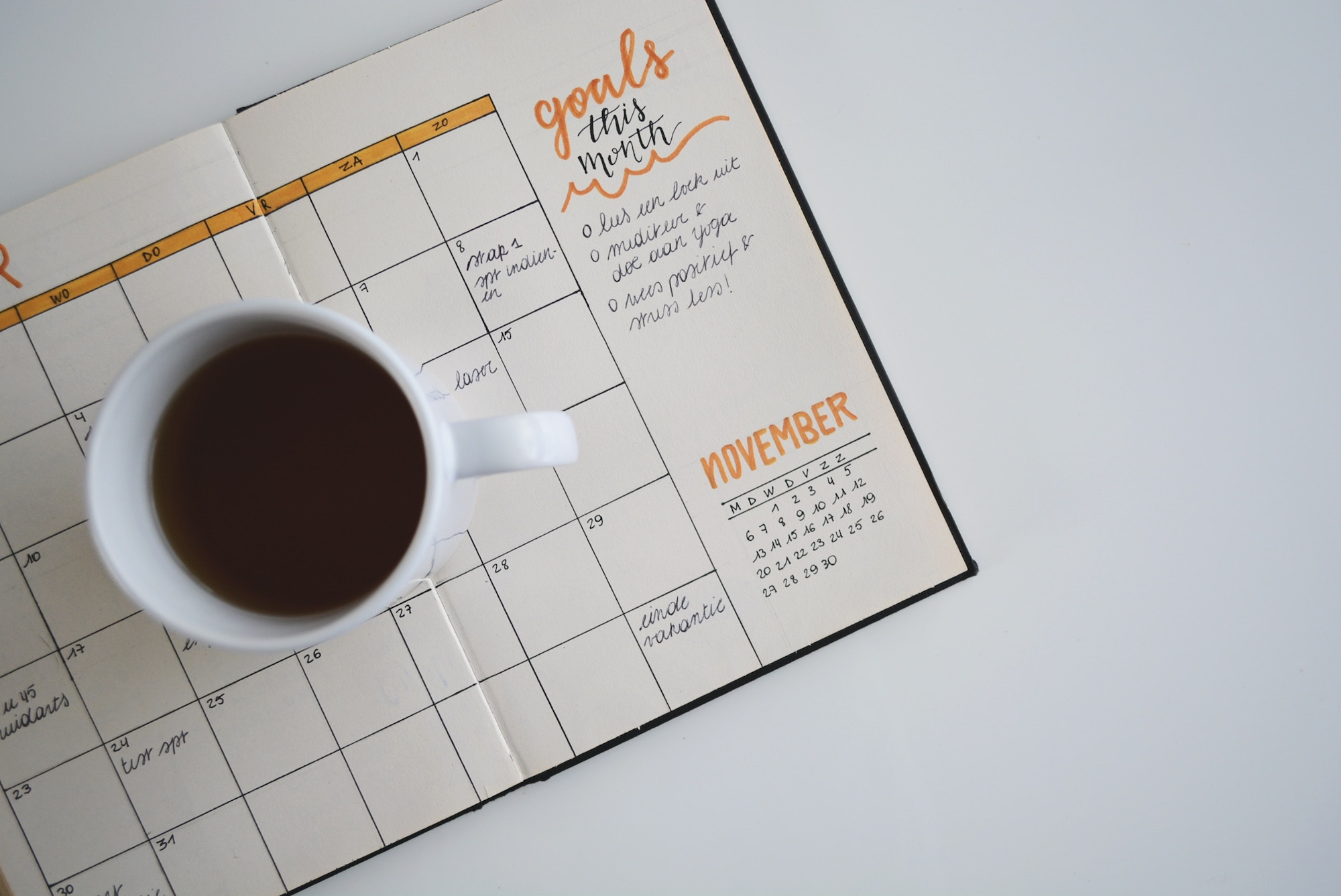 Goals written in a notebook