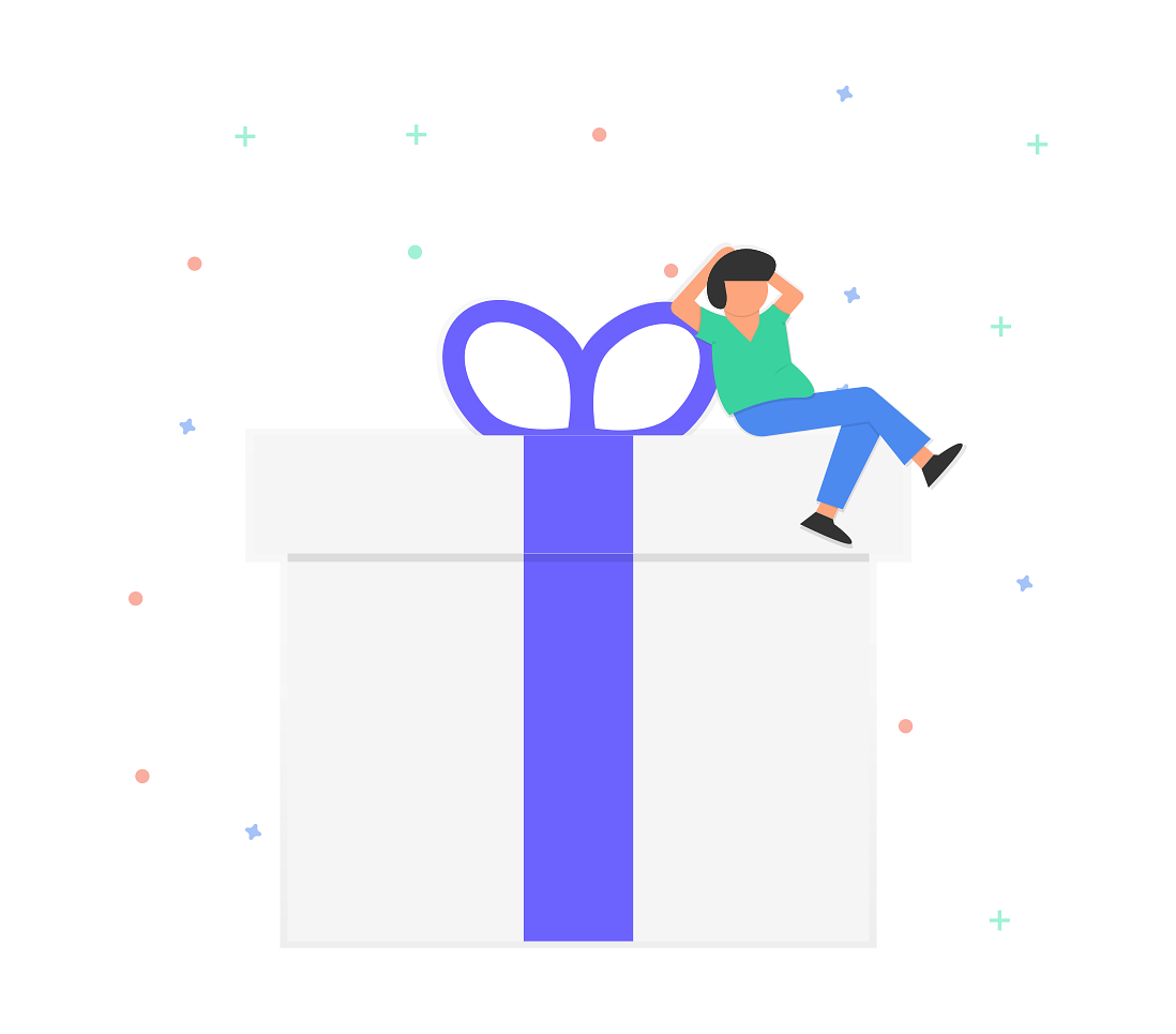 Illustration of an person resting on a gift box