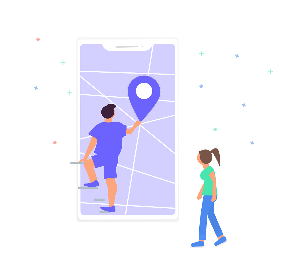 Illustration of two people interacting with a map
