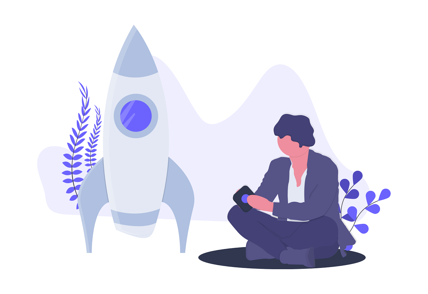 Illustration of a person about to launch a small rocket