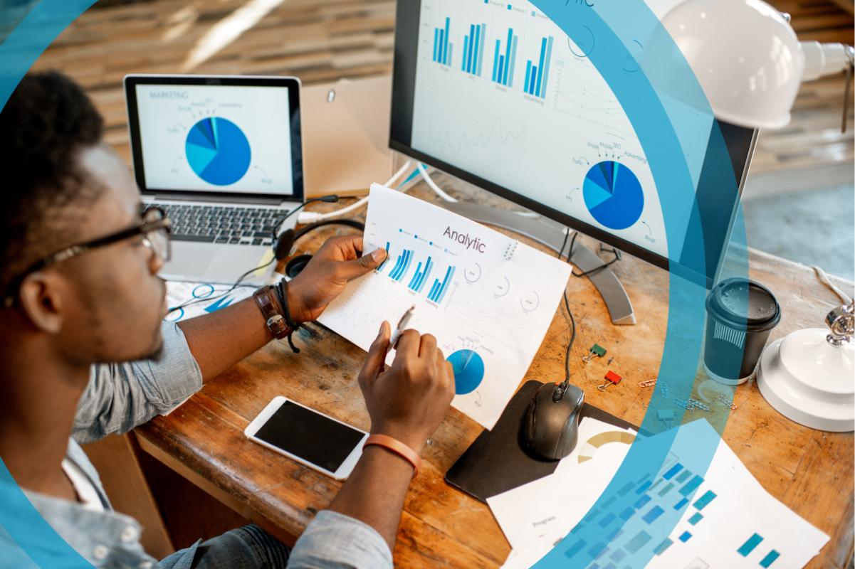 Employee analysing business statistics