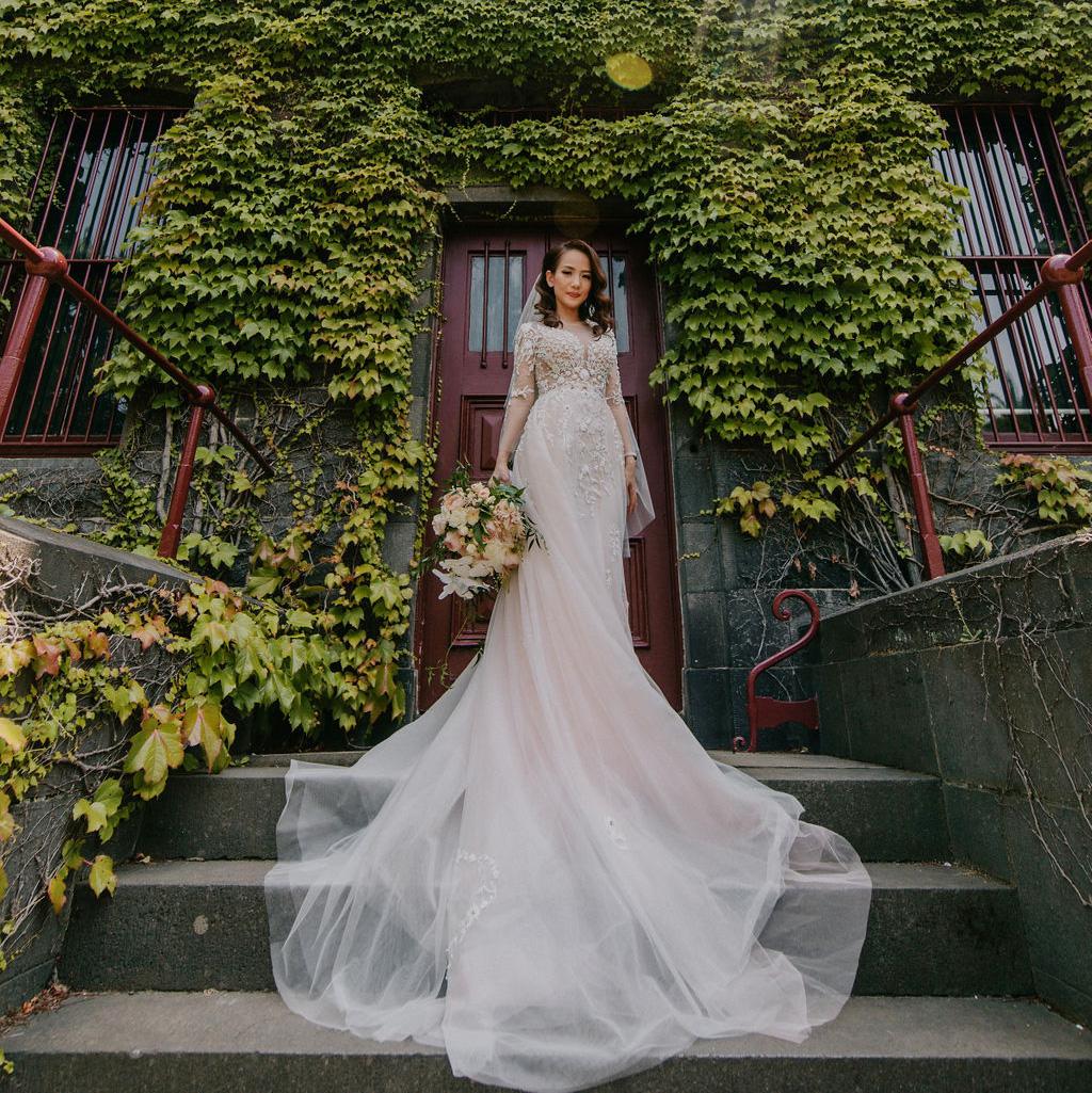 Beautiful bride in wedding dress at JCAU Events hosted wedding