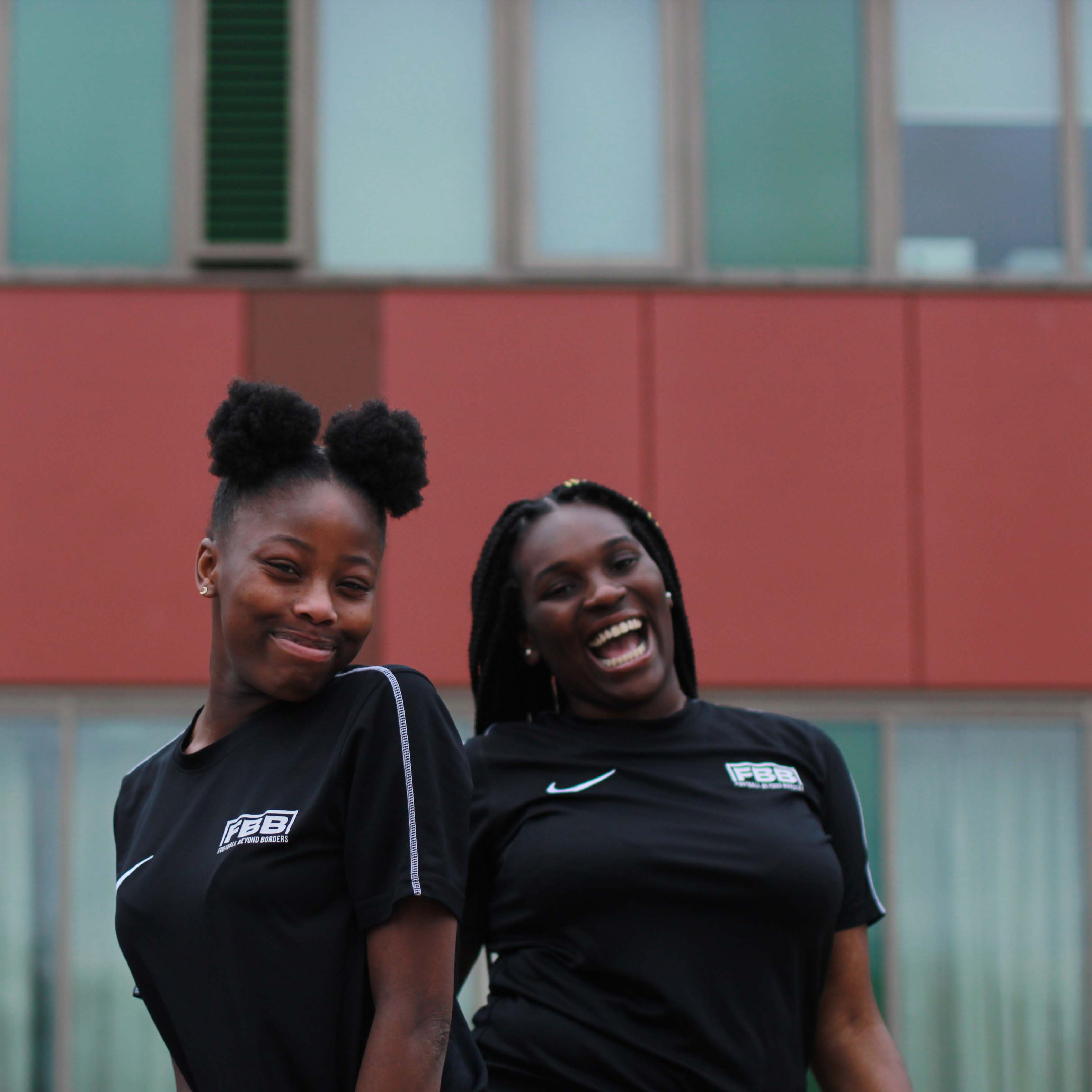 Two female Football Beyond Borders participants in South London