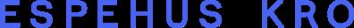 Espehus Kro word logo in blue