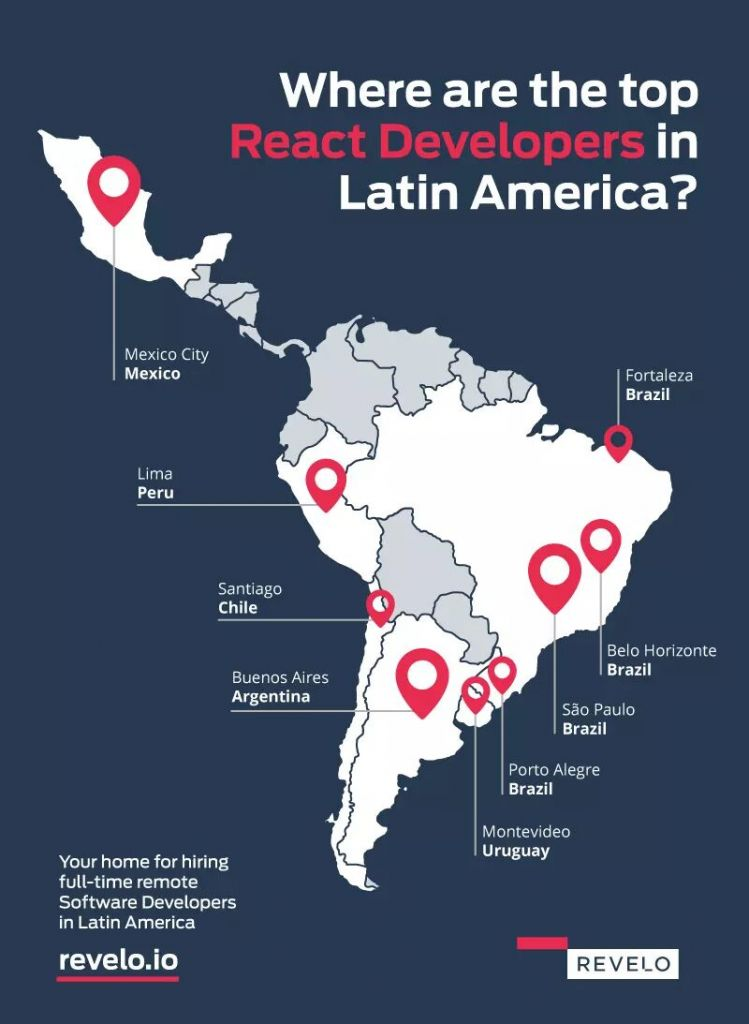 Locations of react developers in Latin America