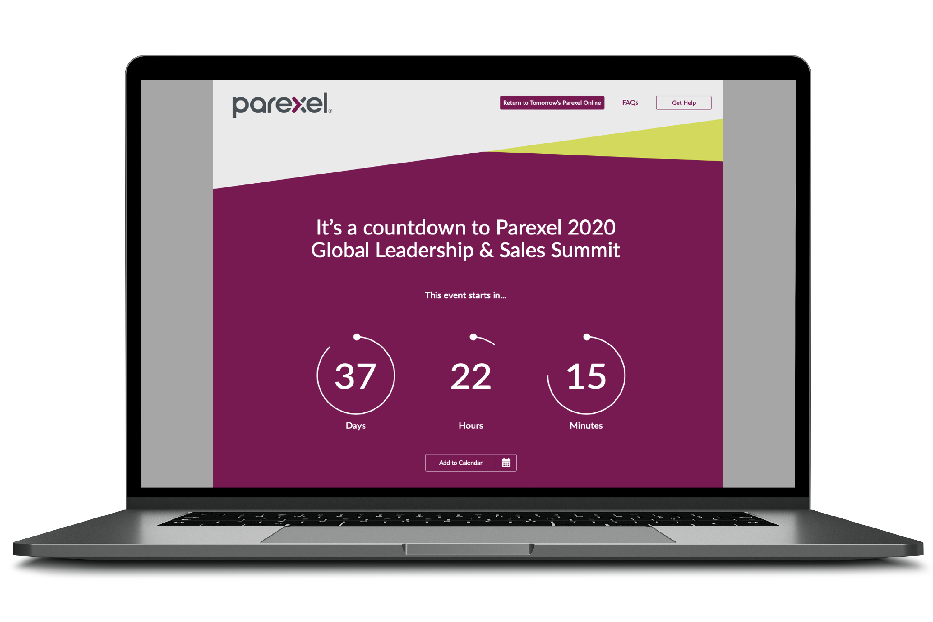 Parexel Global Leadership and Sales Summit Event Website Countdown