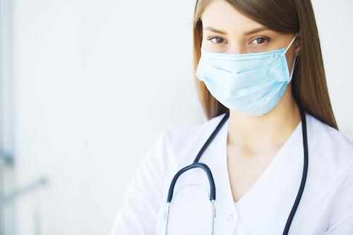 person taking precaution against illness