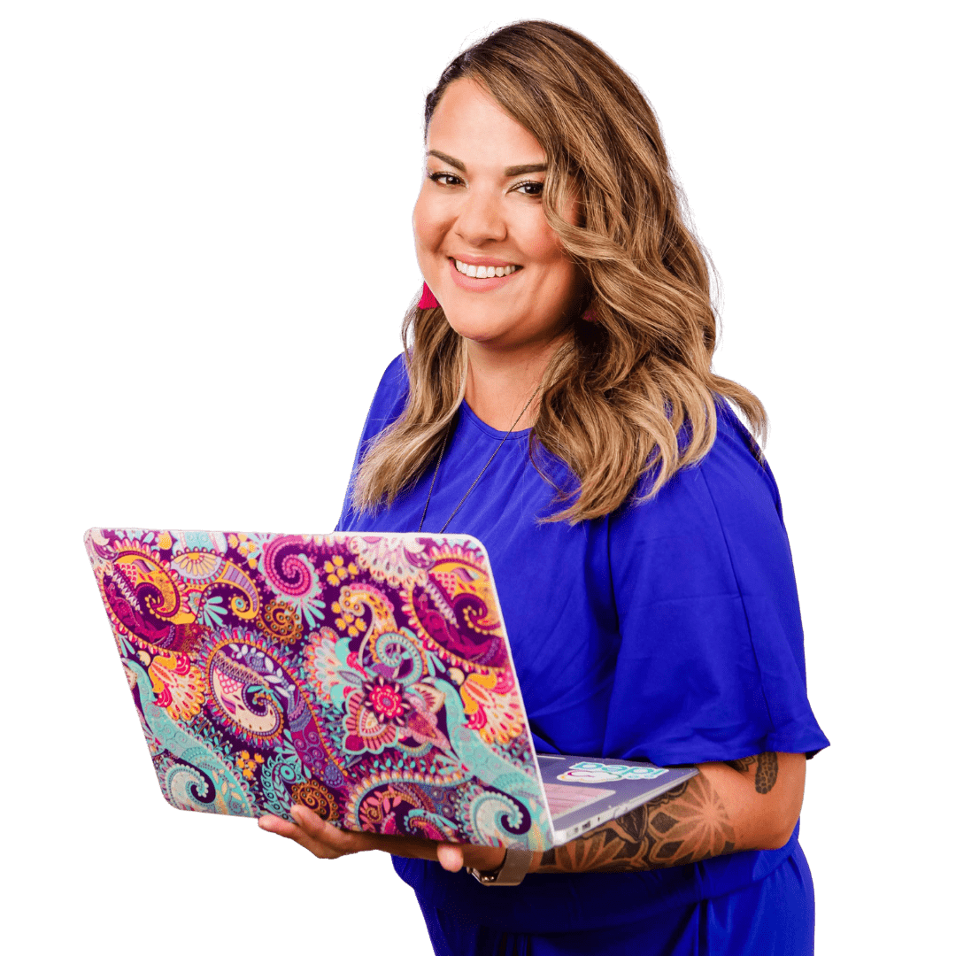 Karla Briones wearing blue and holding a colourful laptop