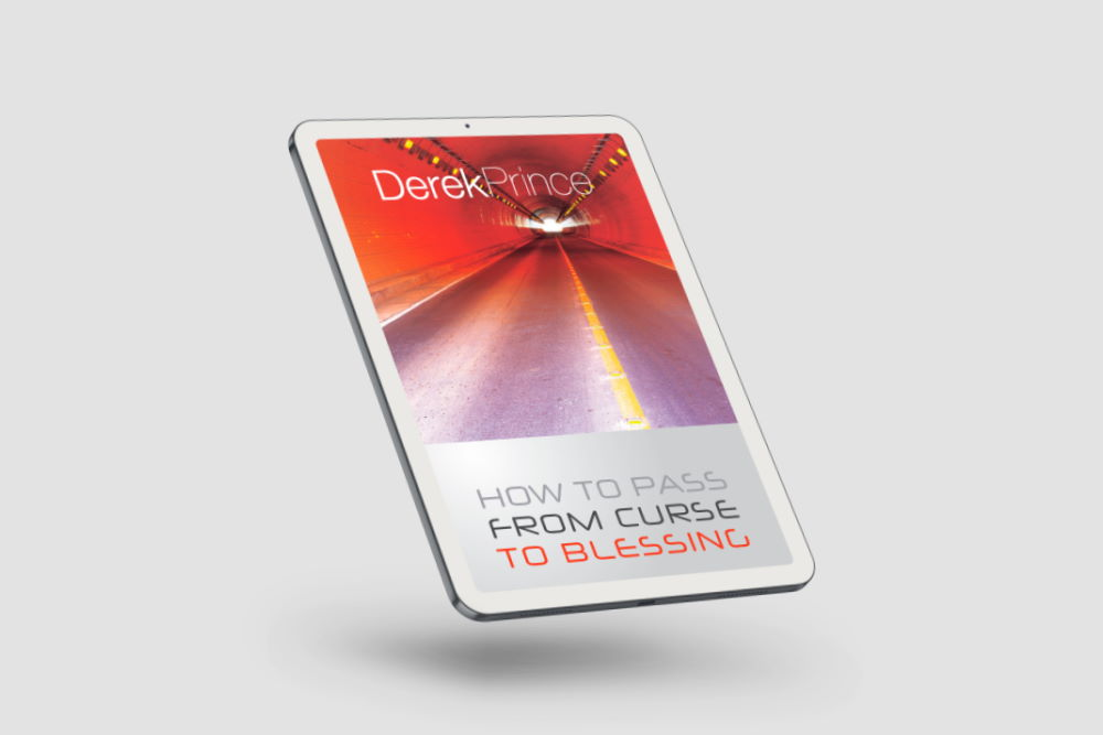 A tablet displaying How To Pass From Curse To Blessing by Derek Prince