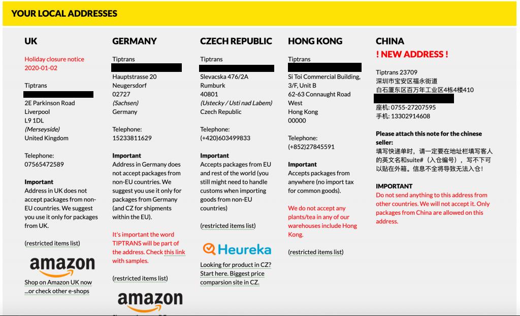 Tiptrans addresses: Germany, UK, Hong Kong, China, and Czech Republic
