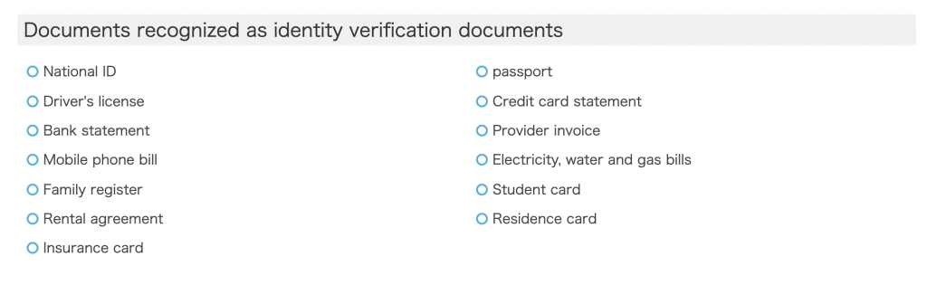 acceptable forms of identification to verify identity for Tenso