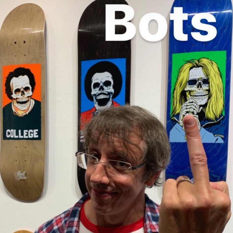 Sean Cliver of Strangelove Skateboards flipping off sneaker bots