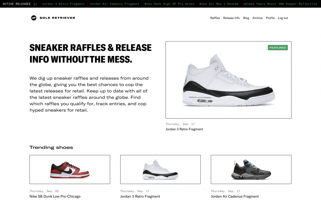 Homepage of Sole Retriever's website, showcasing raffles and release info for upcoming drops