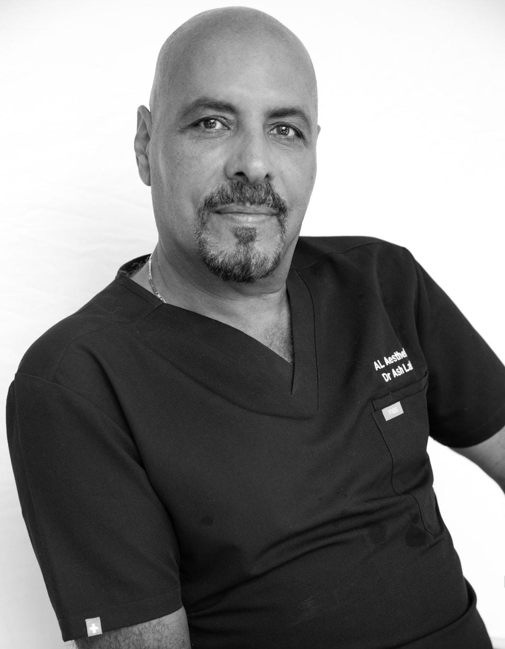 Dr Ash Labib in black and white