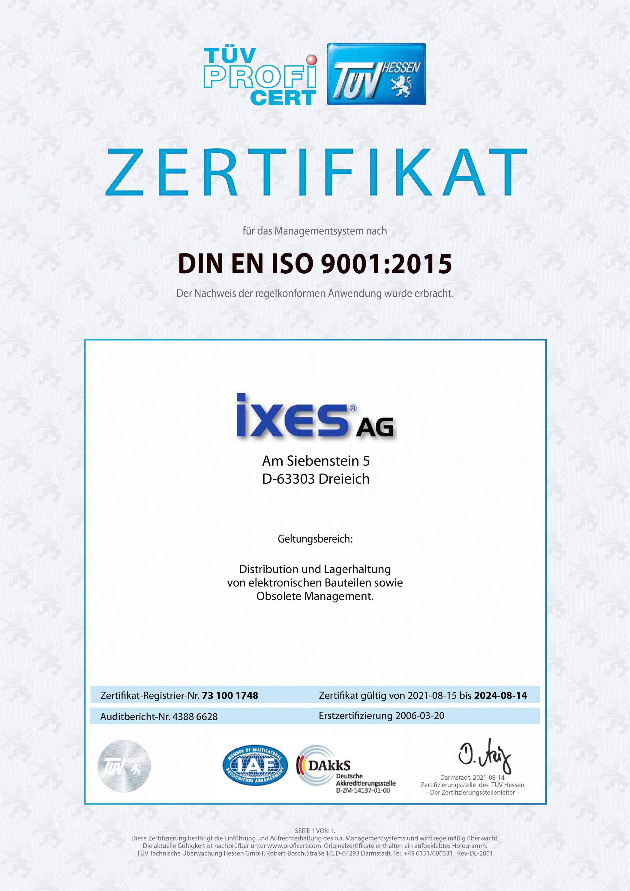 ixes AG ISO Zertifikat 2021 DIN EN ISO 9001:2015