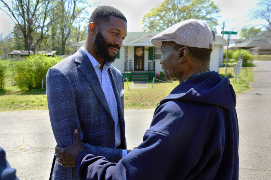 Mayor Woodfin and a citizen