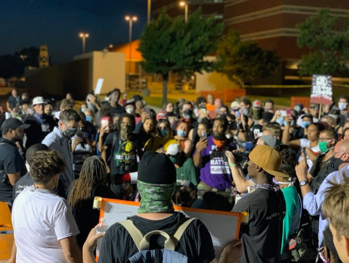 A crowd gathers for peaceful protest held in Oklahoma City