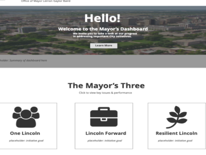 Mock website of a mayor's dashboard
